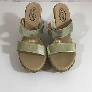 Callisto Gold Wedge Sandals